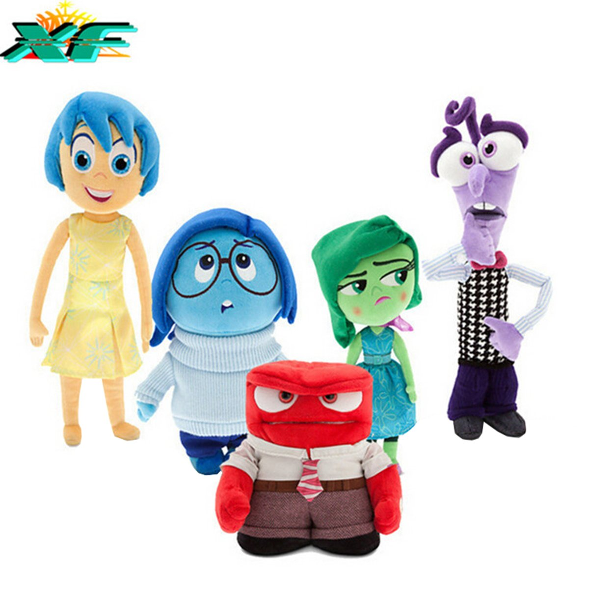 TalentPZ eco-friendly Halloween Christmas Birthday Gift Children Kids 5 Pieces ''Inside Out'' Stuffed Puppet Dolls Plush Toys Set 5 Small (Height:13-20cm / 5.12-7.88''£
