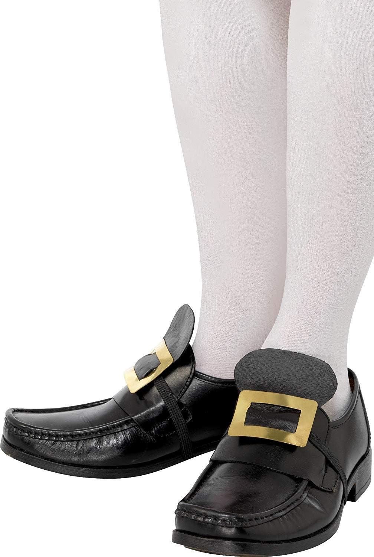 Coppia di fibbia in metallo con cinghia elastica per le scarpe Oro Smiffys Tales of Old England