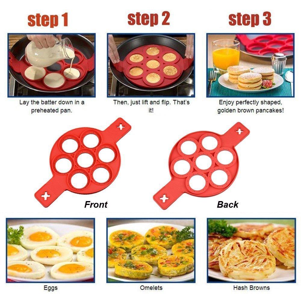 1 piezas Silicona Perfecto Pancake Molde Pancake Maker Pancake Flipper Antiadherente Moldes de Silicona para Tortitas Fantastic Omelette Maker Silicona EI ...