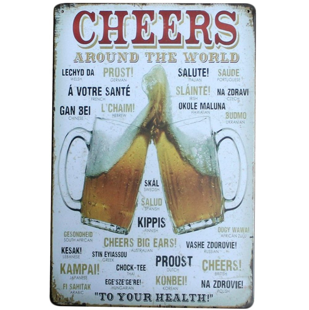 iTemer Metal Advertising Wall Sign Cheer Beers Letters Decorative Signs Tin Metal For Wall Home Office Bar Coffee Shop
