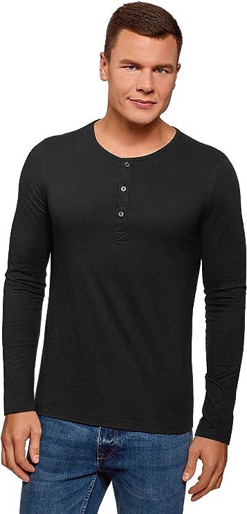 TALLA 44. oodji Ultra Hombre Camiseta Henley de Manga Larga