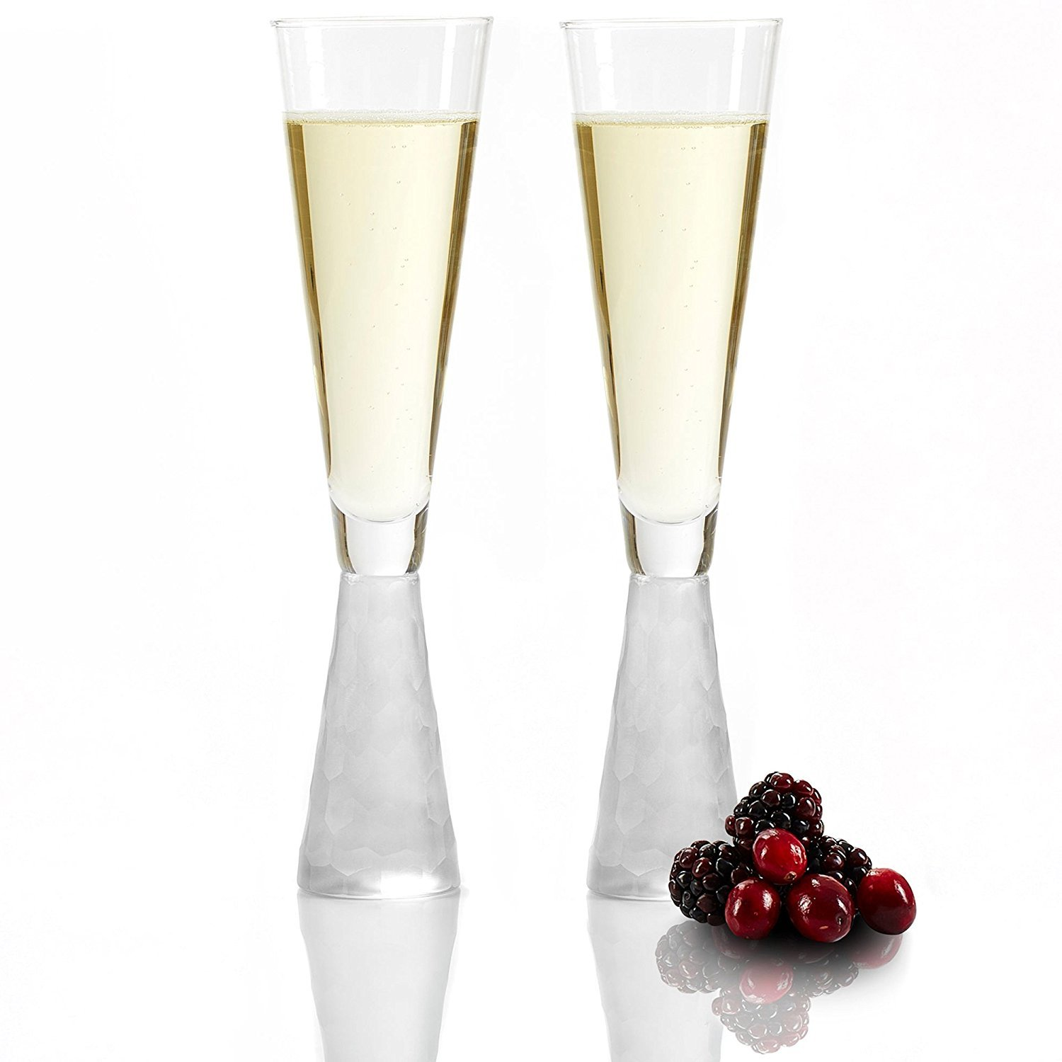Andrew James Champagne Glasses | Set of 2 Champagne Flutes with Shimmering Frosted Bases | Also Suitable for Serving Sparkling Wine and Prosecco | 180ml | Dishwasher Safe