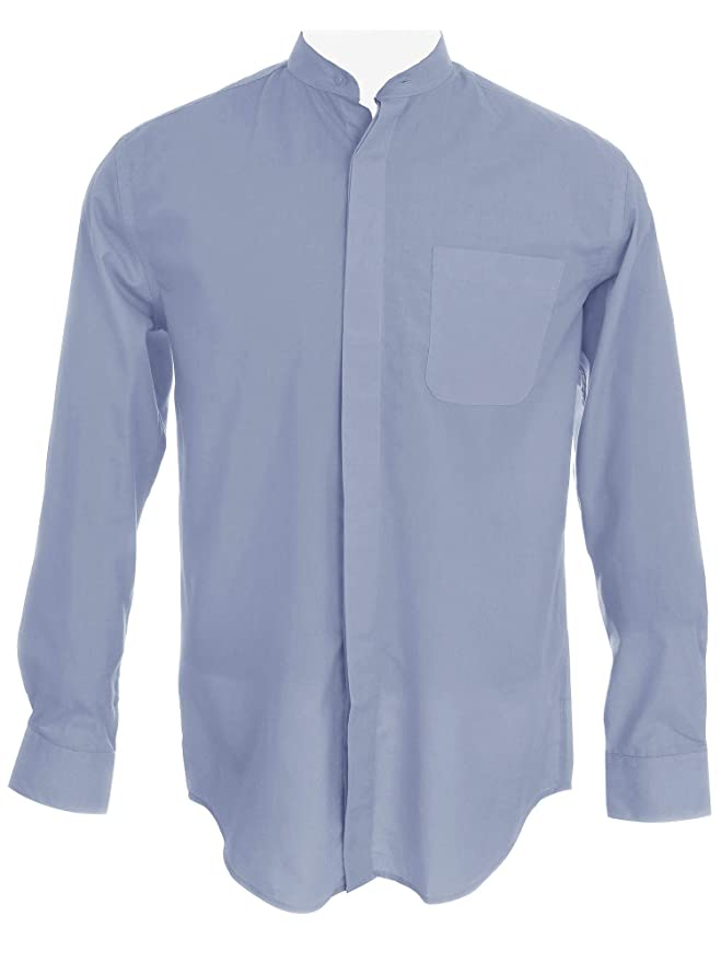 d0042fcd236537 Sunrise Outlet Men's Collarless Banded Collar Dress Shirt at Amazon Men's  Clothing store:
