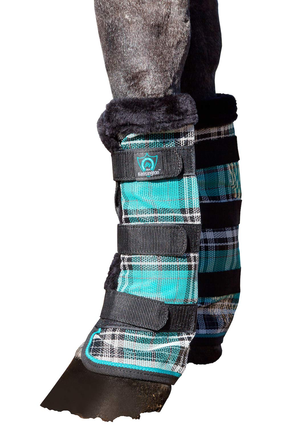Kensington Natural Horse Fly Boots - Fleece Trimmed - Stay-Up Technology - Protection from Insect Bites and UV Rays - Sold in Pairs (2 Boots) - Medium - Black Ice