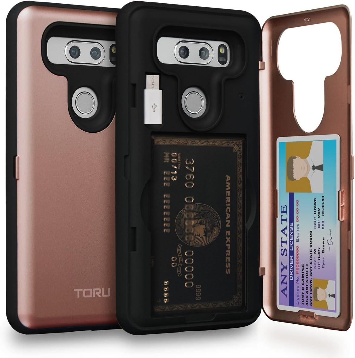 TORU CX PRO LG V30 Wallet Case Pink with Hidden ID Slot Credit Card Holder Hard Cover, Mirror & USB Adapter for LG V30 / LG V30 Plus - Rose Gold