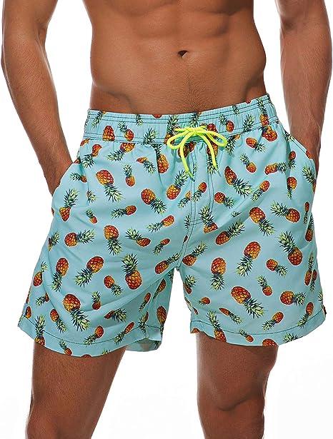 Pineapple Summer Beach Shorts Quick Dry Tankini Swim Briefs Bottom Boardshorts Drawstring Elastic Waist for Women Girls
