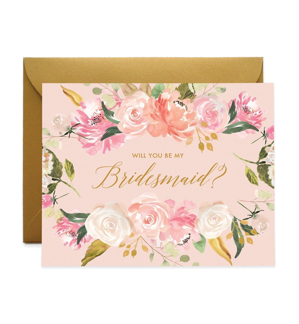 Gorgeous Bridesmaid Proposal Cards Will You Be My Brides Maid Box Pack (Set of 5) Pink Watercolor Floral Flower Five Wedding Engaged Bridal Party Cards & Luxe Antique Gold Shimmer Envelopes CW0004-1