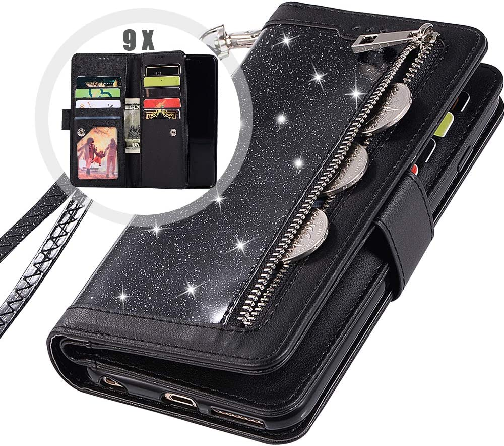 Galaxy S9Plus Wallet Case with Strap,Auker Bling Glitter Folio Flip Leather Trifold 9 Card Holder Folding Stand Magnet Zipper Wallet Purse Case w/Money Pocket for Women Samsung Galaxy S9Plus (Black)