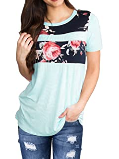 2b039283c8a Allimy Women Summer Short Sleeve Floral Print and Solid Candy Color Tops  Blouses