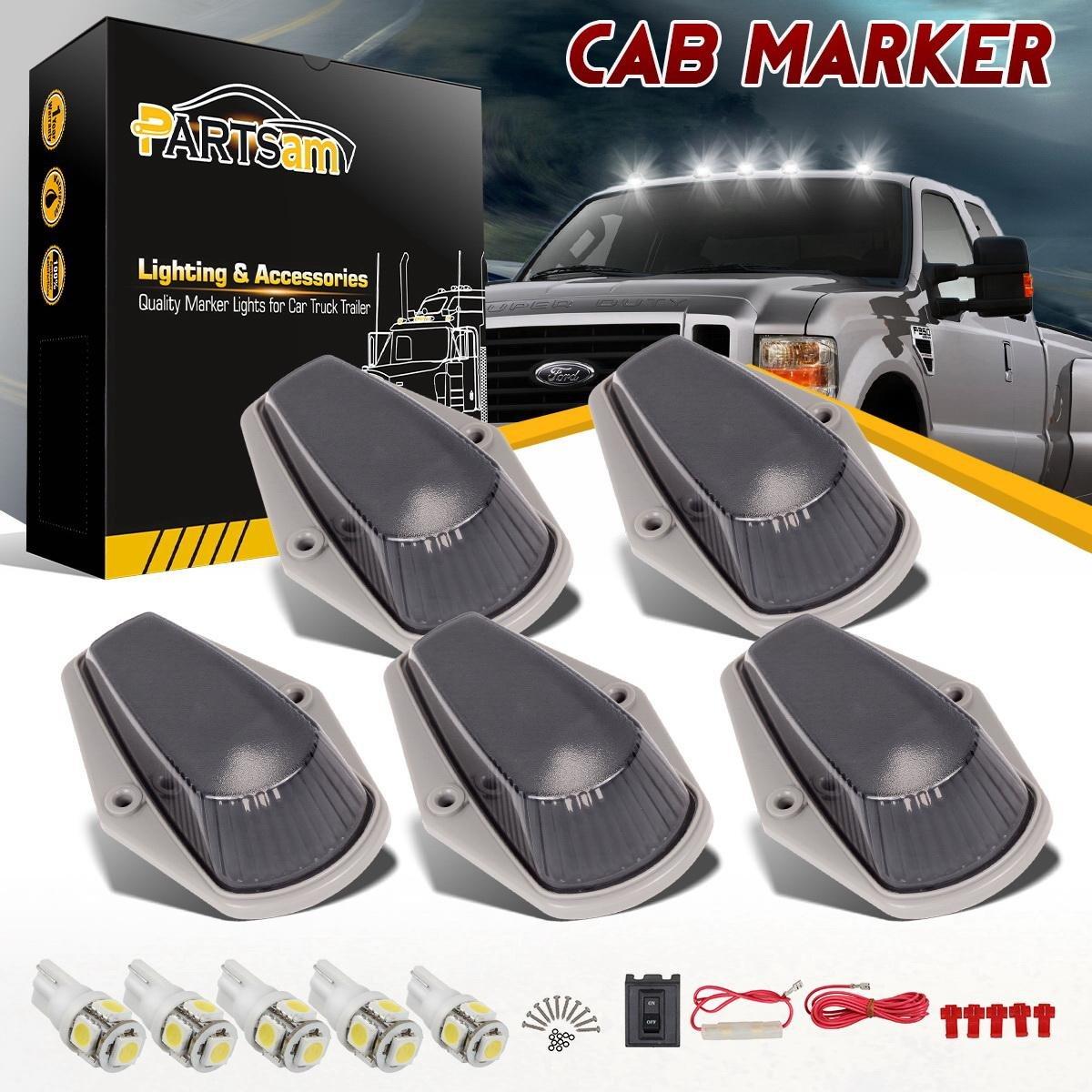 Partsam 5PCS Cab Marker Light 12LED Amber Roof Running Top ... on
