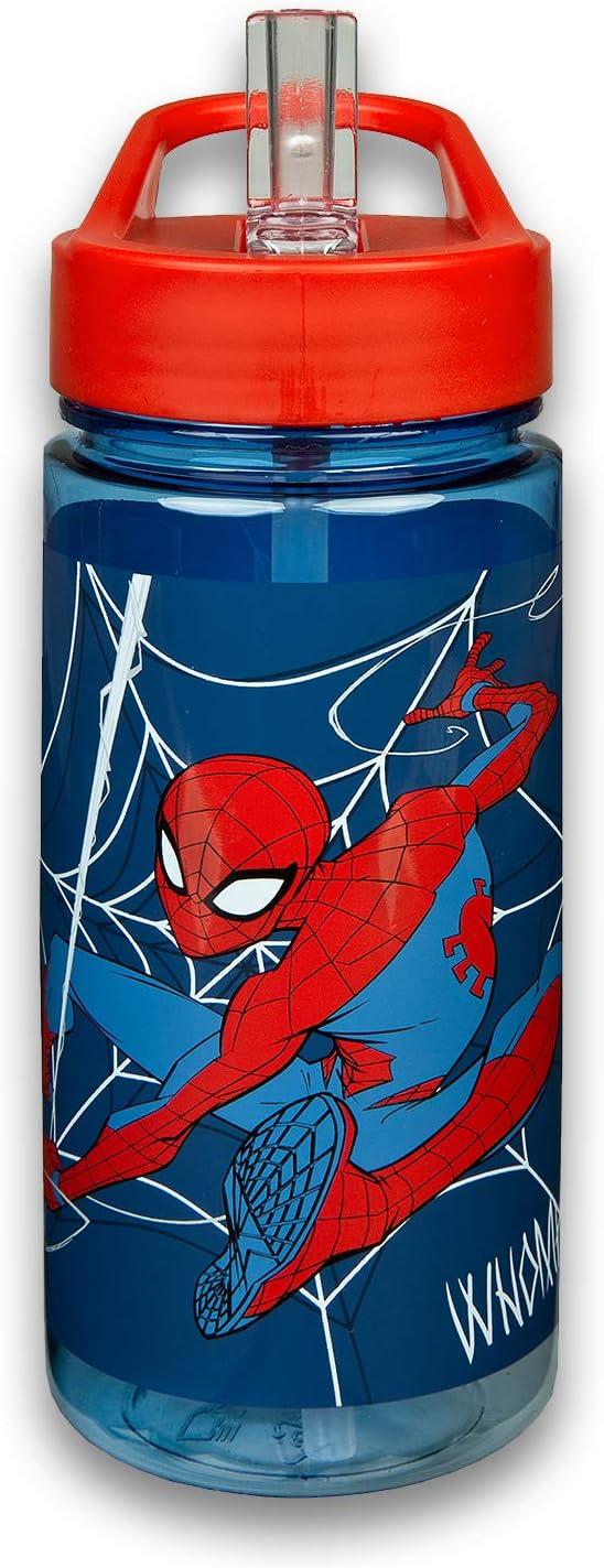 Scooli SPMA9913 – Botella Aero de Marvel Spider-Man, con pajita integrada y boquilla para beber sin BPA ni ftalatos, aprox. 500 ml de capacidad