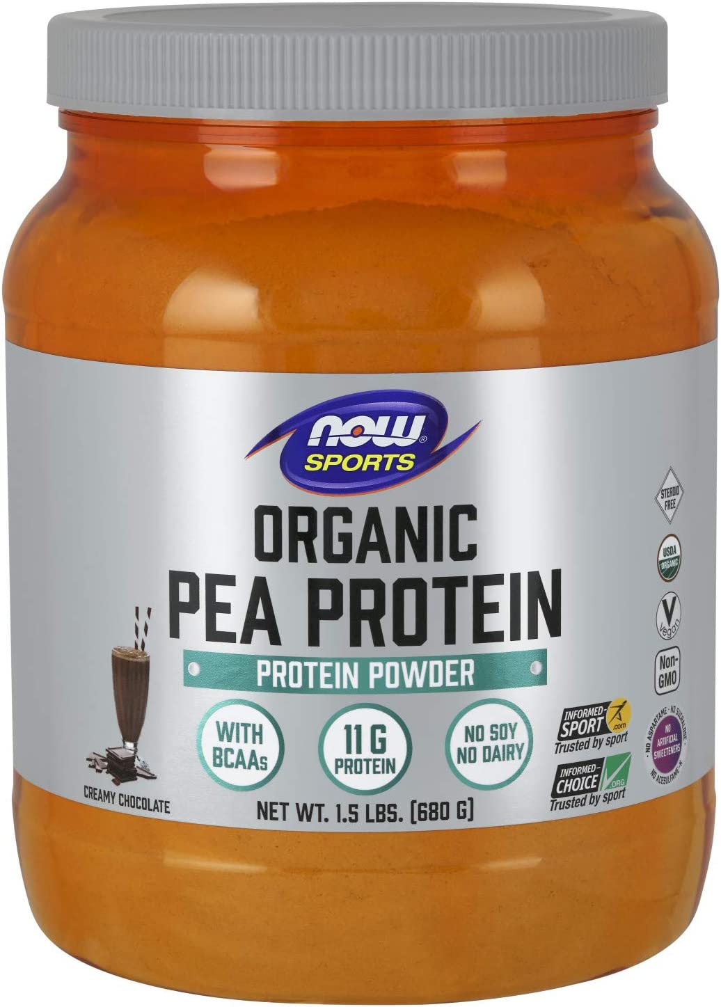 NOW Sports Nutrition, Certified Organic Pea Protein, 11G With BCAAs, Creamy Chocolate Powder, 1.5-Pound: Health & Personal Care