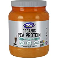 NOW Sports Nutrition, Certified Organic Pea Protein, 11G With BCAAs, Creamy Chocolate Powder, 1.5-Pound
