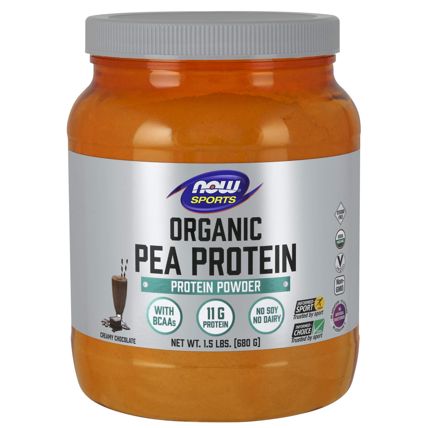 Now Sports Nutrition, Organic Pea Protein Powder, Natural Chocolate, 1.5-Pound