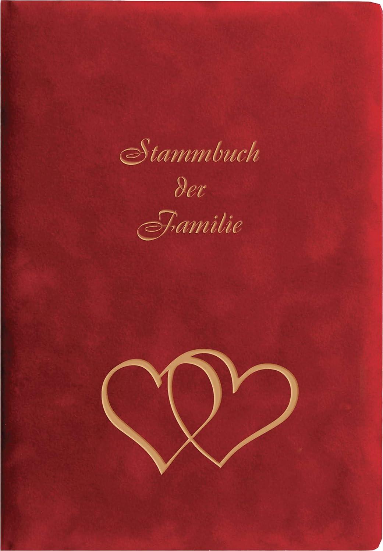 Pr/ägung Herzen in Gold Stammbuchformat Stammbuch GRIS Velours rot Ringmechanik