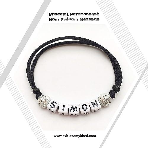 avant-garde de l'époque choisir le plus récent de gros Bracelet personnalisé avec prénom SIMON (réversible) homme ...
