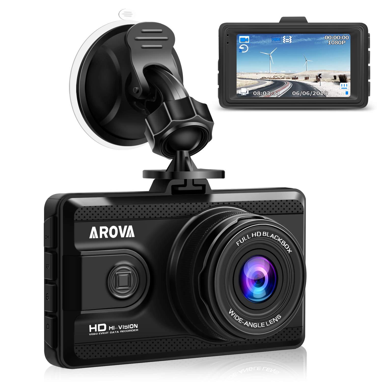 AROVA Dash Cam HD 1080P Dashboard Camera 170° Wide Angle Car Camera Dash Camera Cars G-Sensor, Parking Mode, HDR, Loop Recording, Motion Detection, Night Vision