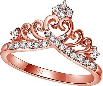 خواتم تاج الأميرة الملكة للنساء الفتيات إترنتي على شكل قلب وعد خاتم الزركون مجوهرات الحجم 4 - 12.5