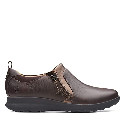 a4fb2082f45 Clarks Un Adorn Zip Leather Shoes in Brown  Amazon.co.uk  Shoes   Bags
