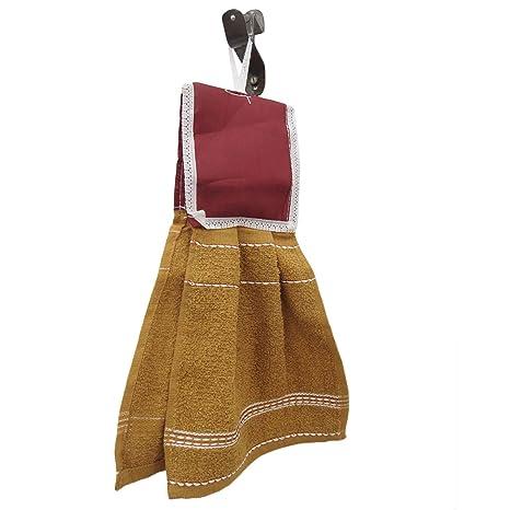 Colgando paños de cocina cocina de Brown Textura de la toalla absorbente tela de rizo lavado