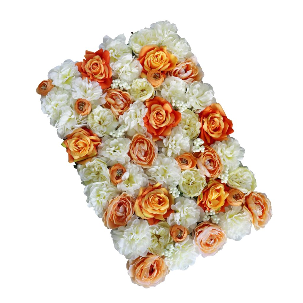 Prettyia Romatic Artificial Rose Flower Wall Panels Wedding Engagement Venue Flower Arrangement Background - Orange, as described