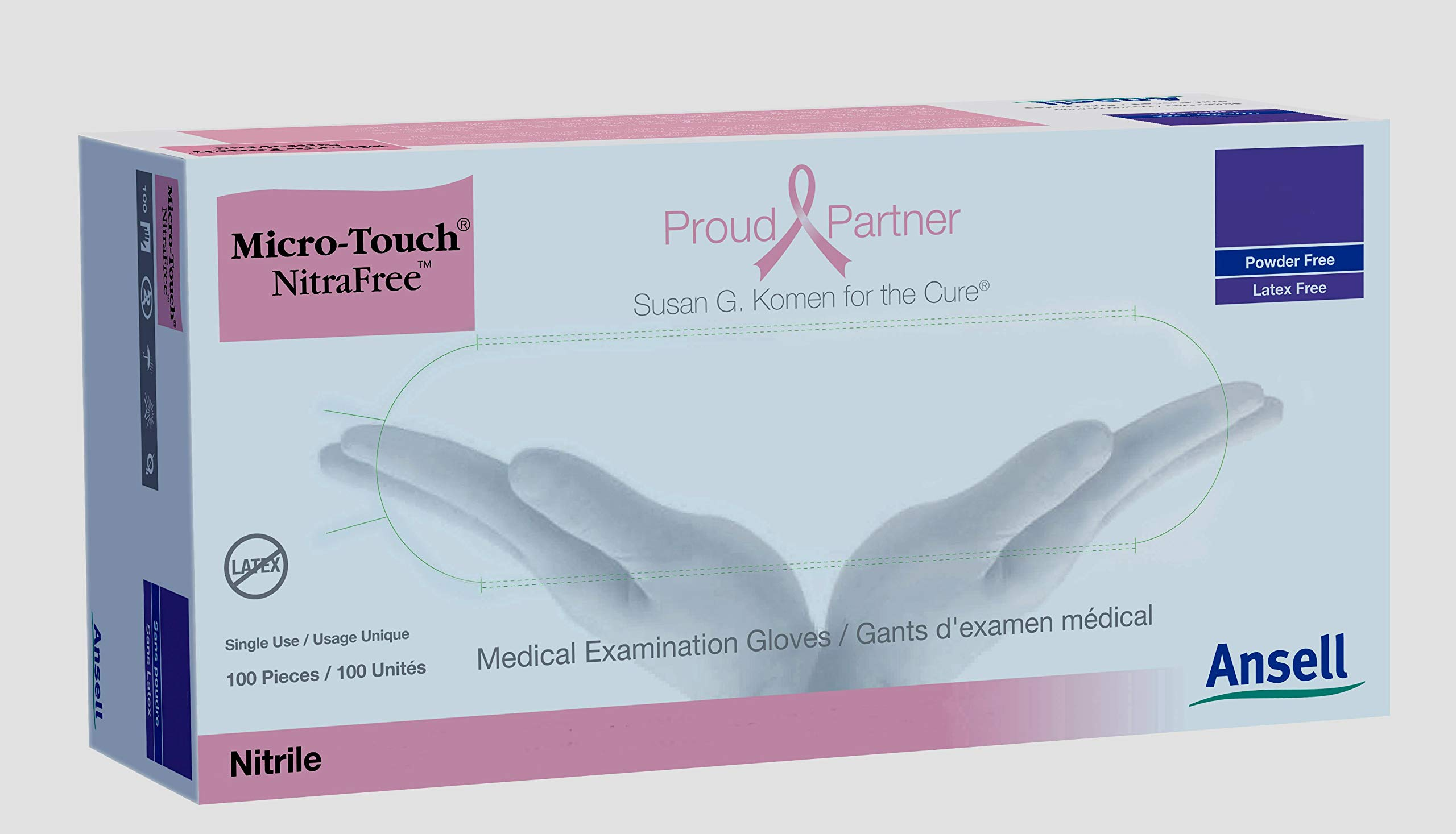 Micro-Touch NitraFree Exam Glove Small NonSterile Nitrile Standard Cuff Length Textured Fingertips Pink Chemo Tested, 6034511 - Box of 100 by Micro-Touch NitraFree