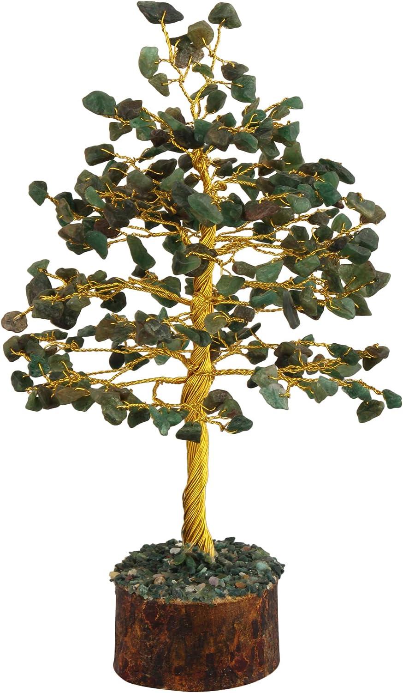 FASHIONZAADI Green Jade Gemstone Bonsai Money Tree Healing Crystals Chakra Trees Reiki Stone Good Luck Chakra Crystal Home Office Table Décor Decorative Figurine Gift Size -10 Inch (Golden Wire)