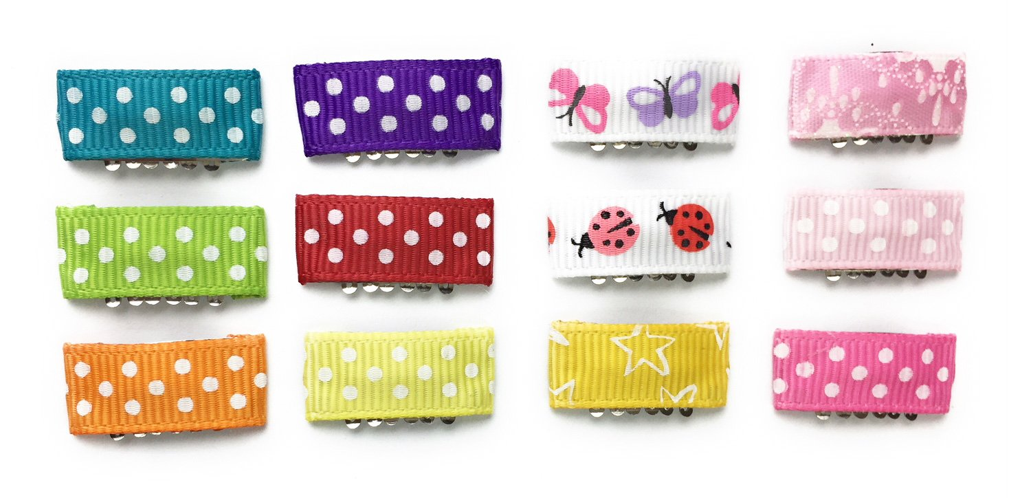 Baby Wisp 12 Mini Hair Clips Patterned Ribbon Baby Girls Infant Fine Hair Accessory Collection by Baby Wisp (Image #1)