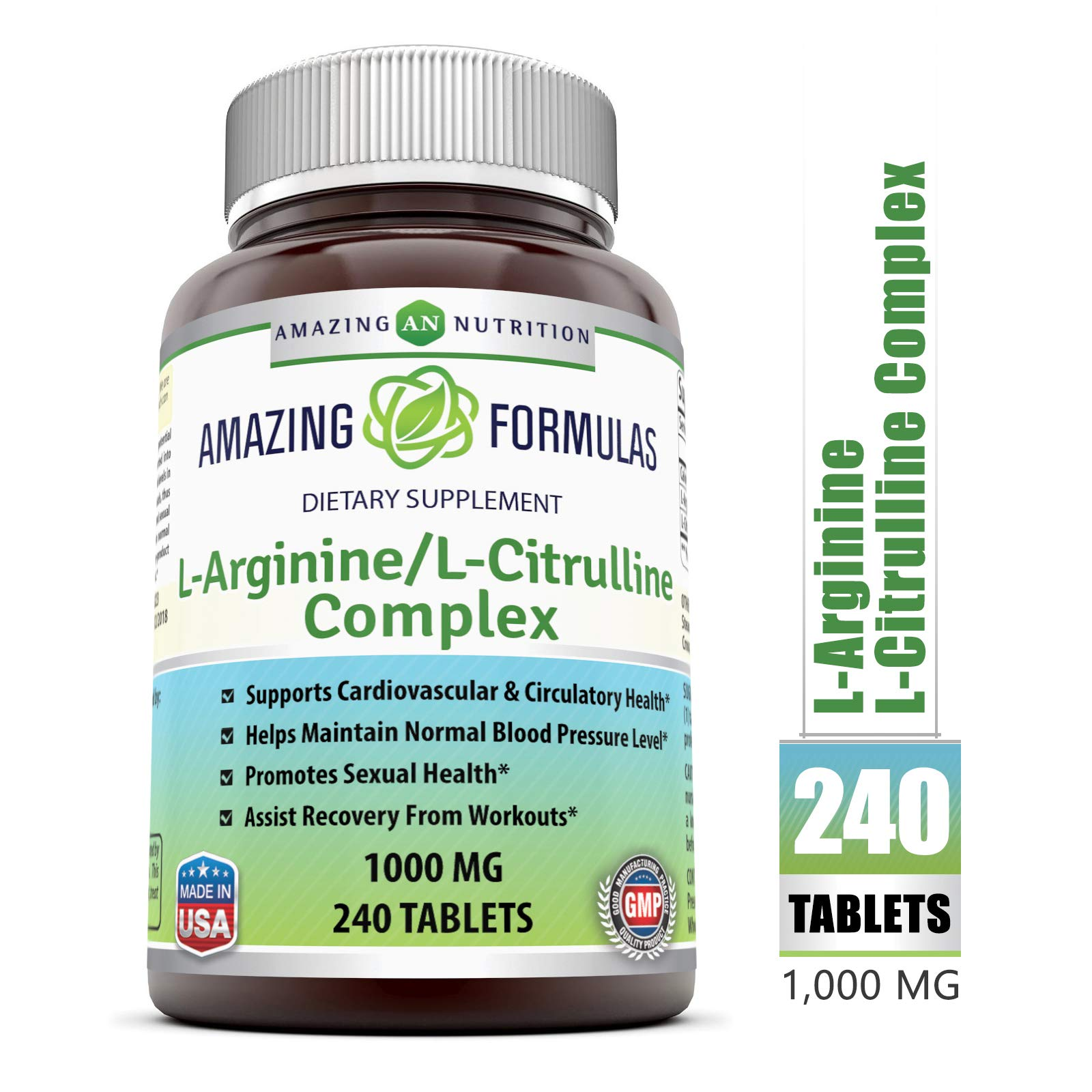 Amazing Nutrition L-Arginine/L-Citrulline Complex 1000 Mg* Combines Two Amino Acids with Potential Health Benefits * Supports Energy Production * Ads to Improve Athletic Performance (240 Tablets) by Amazing Nutrition