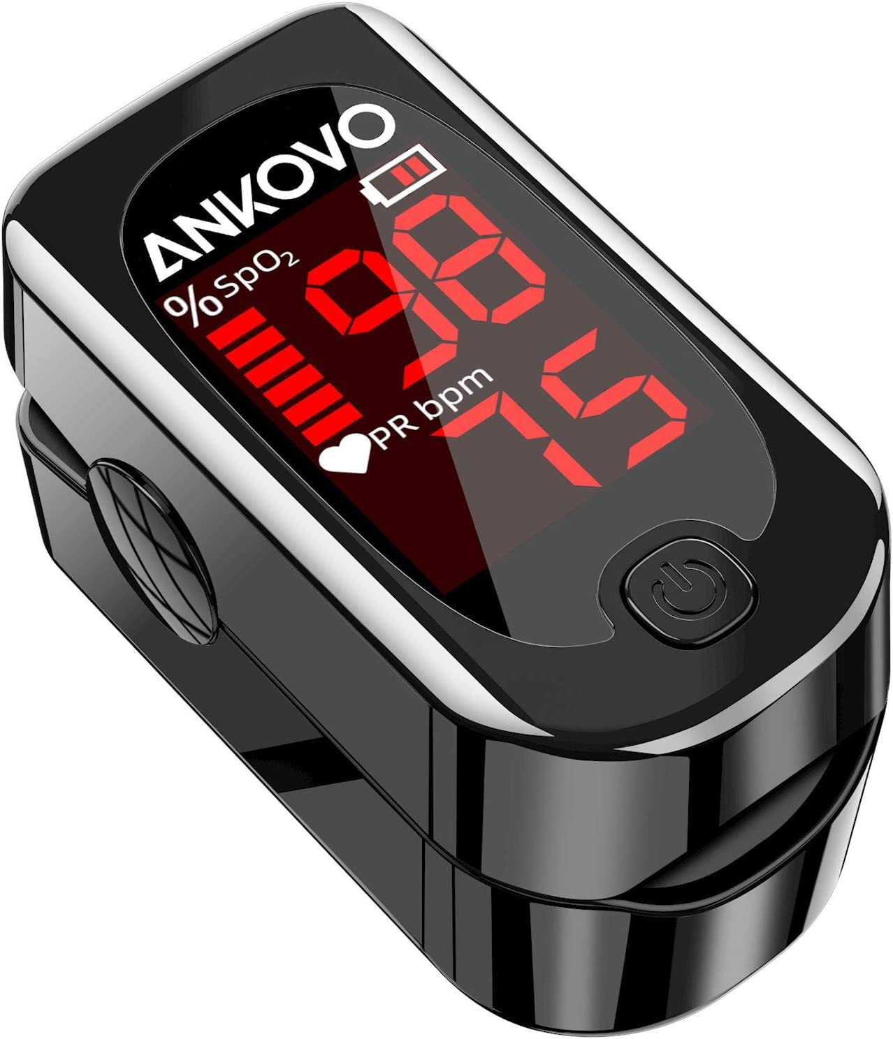 Amazon.com: Pulse Oximeter Fingertip, ANKOVO Blood Oxygen Saturation Monitor  with Pulse Heart Rate Monitor Portable Pulse Ox Include Lanyard 2 Batteries  (Royal Black) (Black): Health & Personal Care