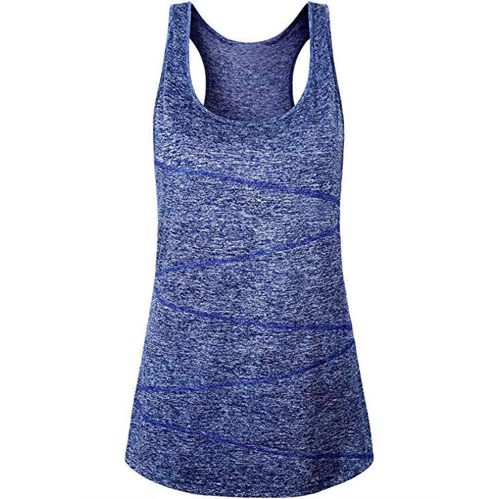 WEUIE Womens Clothing Clearance Women Sleeveless Yoga Tops Activewear Running Workout Shirt Tunic Vest Tank(XL,Blue)
