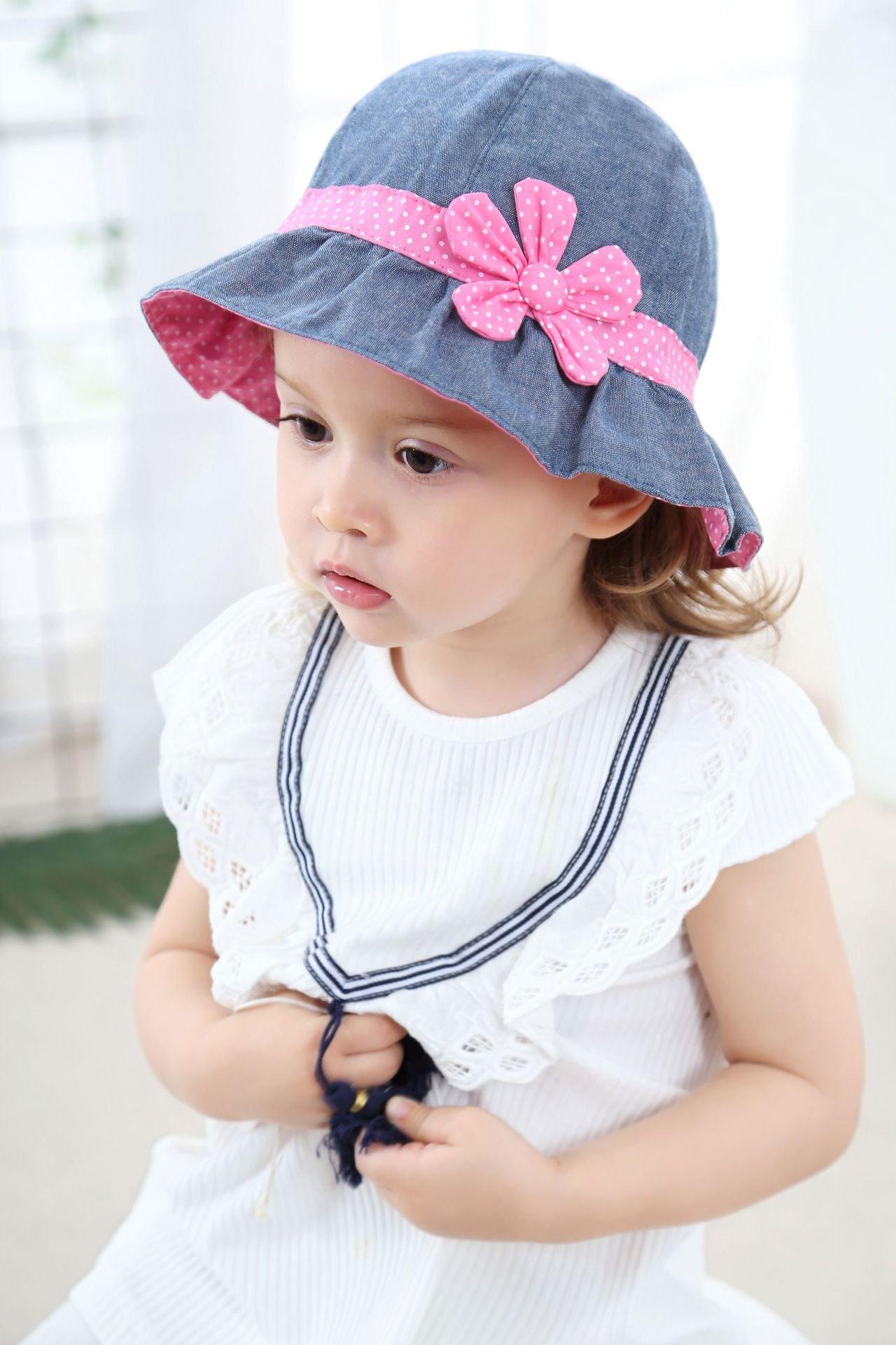Toddler Baby Girls Denim Sun Hats with Chin Strap Kid Summer Cotton Sunhat Polka Dot Caps by HUIXIANG (Image #8)