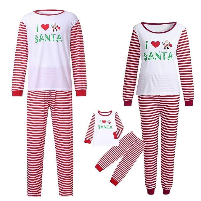 POLP Niño Familia Navidad Pijamas Rayas Hombres Mujer Chico Niña Niños Bebé Sleepwear Ropa de Dormir Manga Larga Blusa y Raya Pantalones Navidad Familia ...