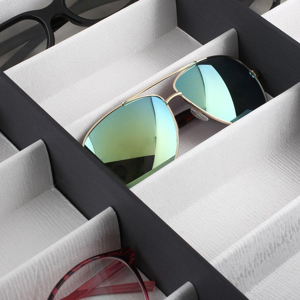 Femor Espositore Occhiali Organizzatore Occhiali da Sole di 18 Posti in Pelle Pu, Scatola Portatile con Blocco 47 × 38 × 6.5cm (Scatola)
