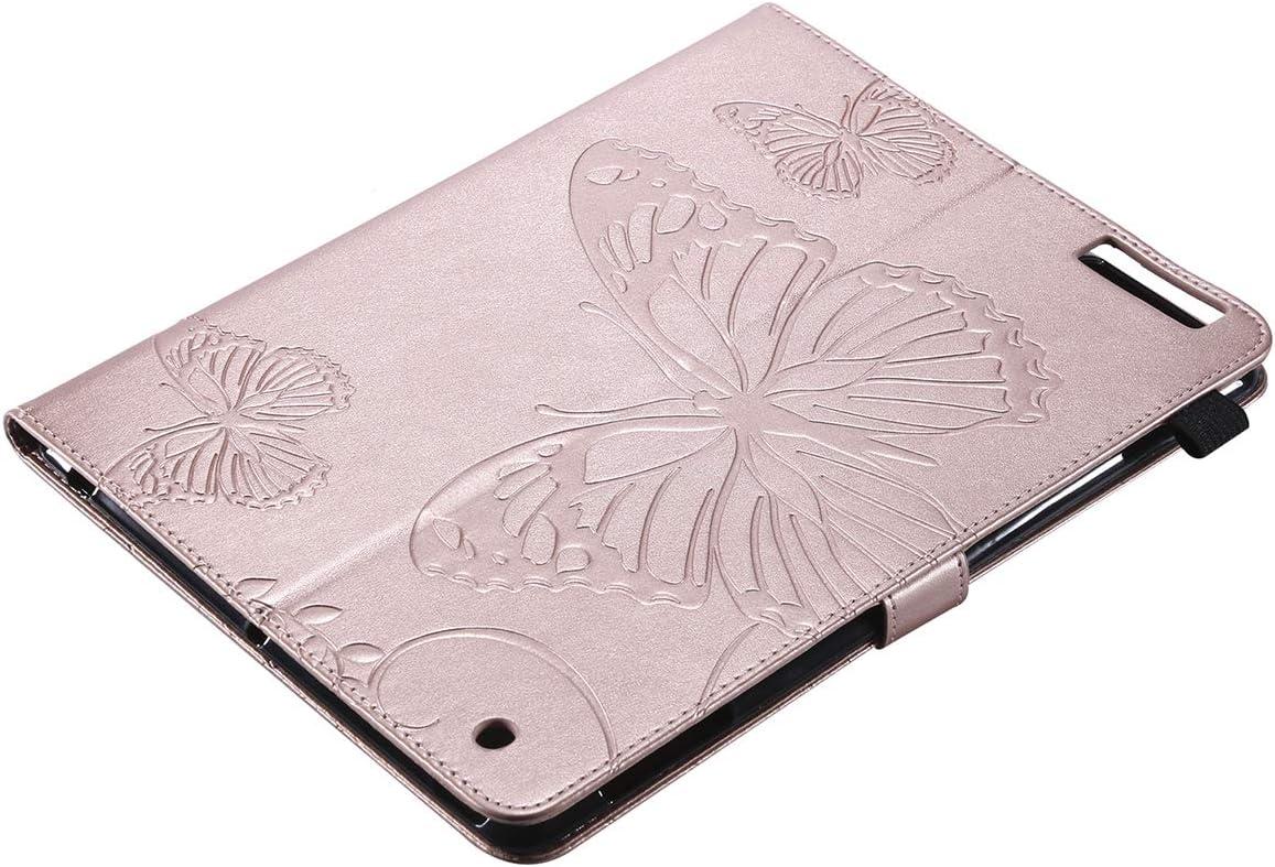 4 H/ülle Case Cover Rot Schmetterling Muster Pr/ägung H/ülle im Bookstyle Flip Case PU Leder Wallet Tasche Brieftasche Cover mit Standfunktion Lederh/ülle Felfy Kompatibel mit iPad 2//3