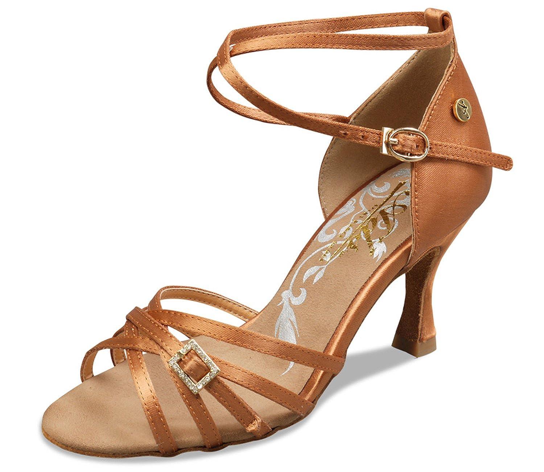 [Aplus Dance Shoes] レディース タン サテン 8.5 M US