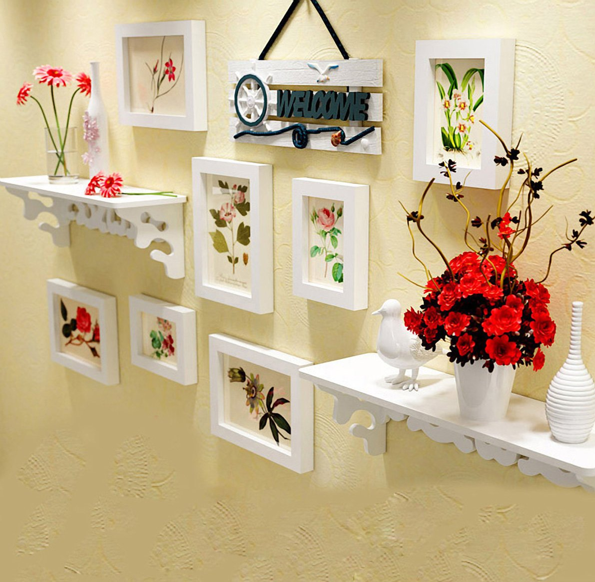 Buy WollWoll Flowers and Leaves with Wall Decoration Shelf Large ...