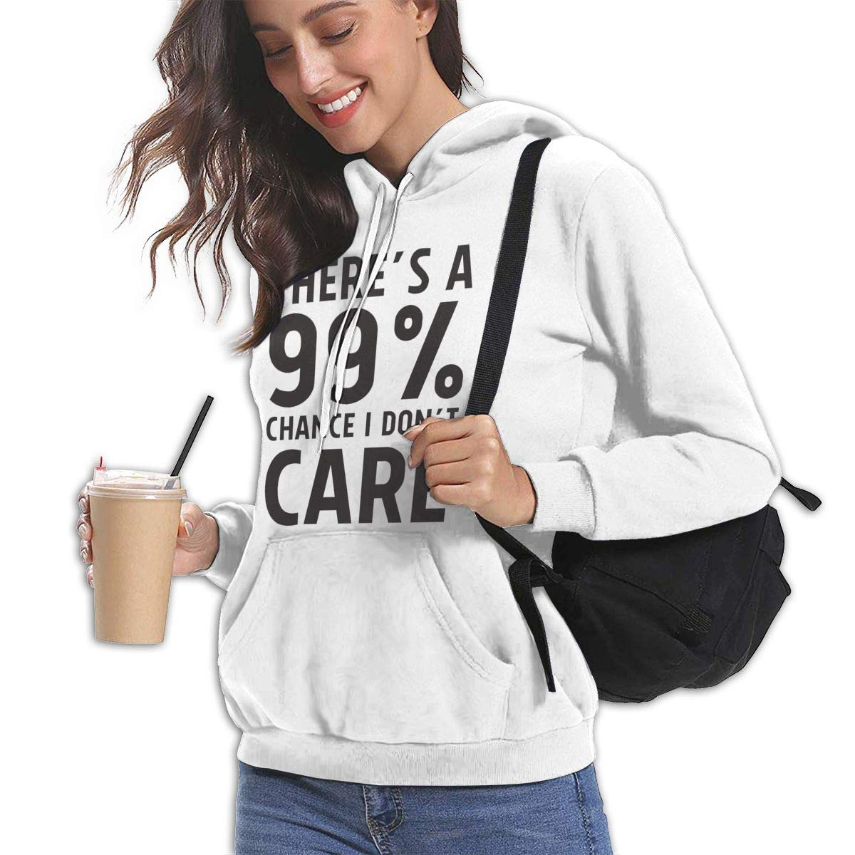 Elf Dance 99/% Chance I Dont Care Womens Hooded Pocket Casual Sweater