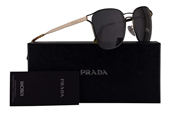 9604f33b6951 Image Unavailable. Image not available for. Color: Prada PR54TS Sunglasses  Black Pale Gold w/Grey 55mm Lens ...