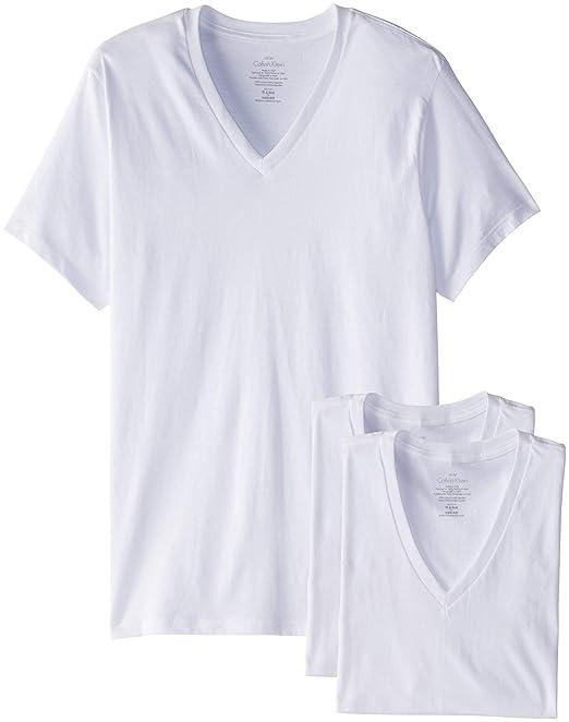Calvin Klein, camisetas en cuello V clásicas de algodón, paquete de 3 para hombre: Amazon.es: Ropa y accesorios