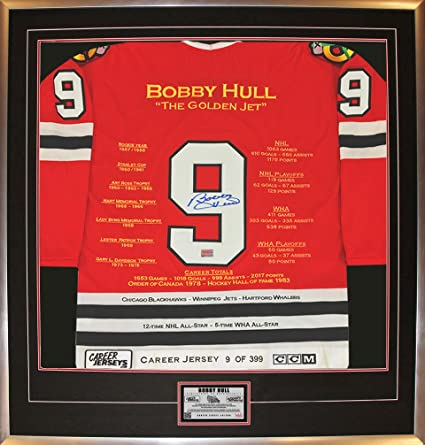 4dd1965f ... promo code bobby hull red career jersey 9 of 399 autographed chicago  blackhawks d7be8 2a436