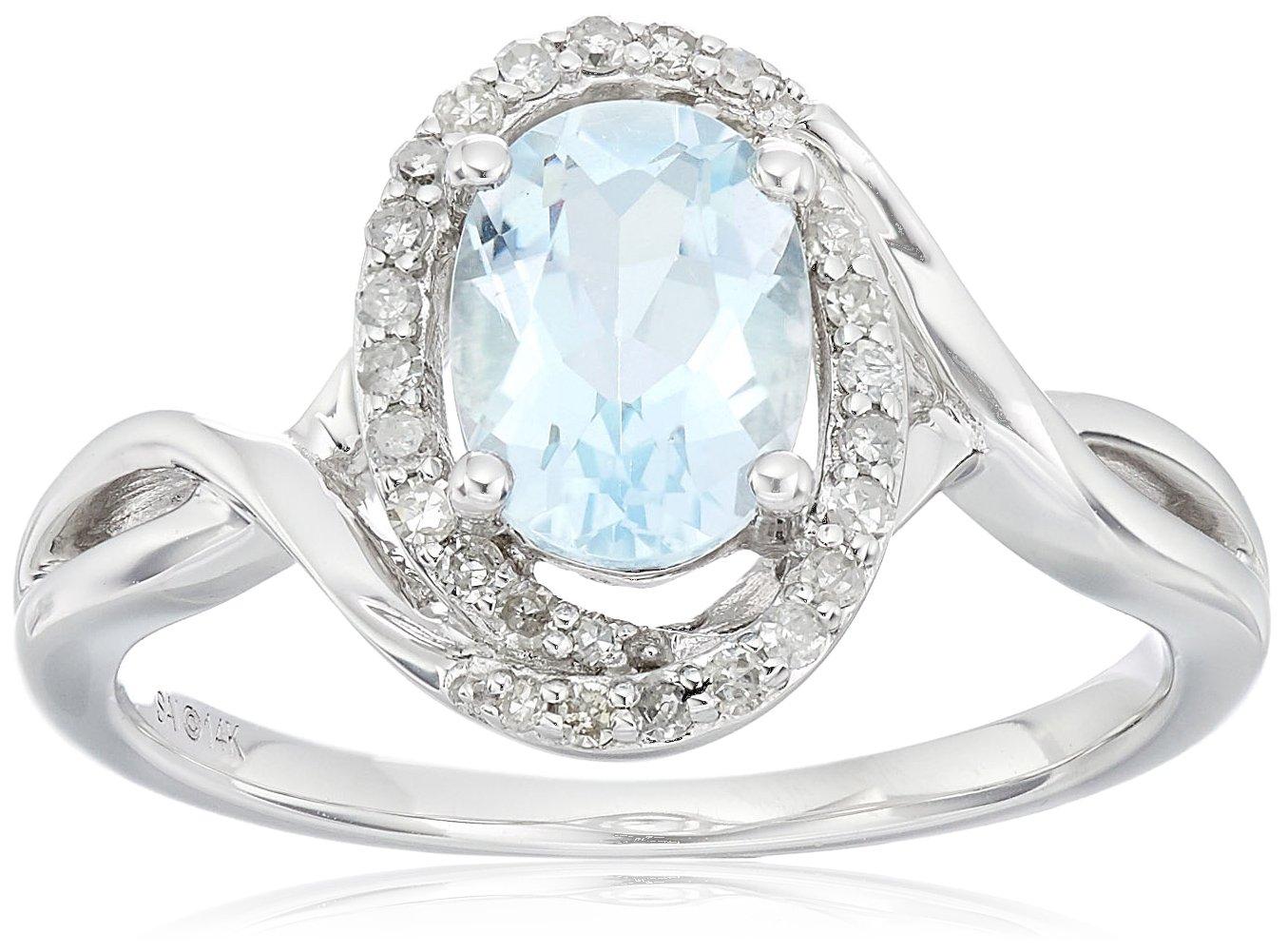 14k White Gold, Aquamarine, and Diamond Ring (1/6 cttw, H-I Color, I2-I3 Clarity), Size 7