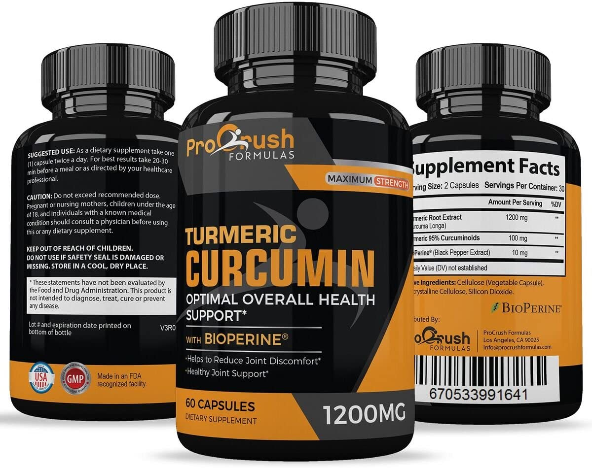 Turmeric Curcumin Supplement Maximum Strength – Anti-Inflammatory Joint Pain Relief. Enhanced with Black Pepper for Better Absorption. All Natural, Non-GMO, Gluten Free Antioxidant Pills.