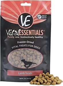 Vital Essentials Freeze-Dried Lamb Dog Treats - All Natural - Made & Sourced in USA - Grain Free - 2 oz Resealable Pouch