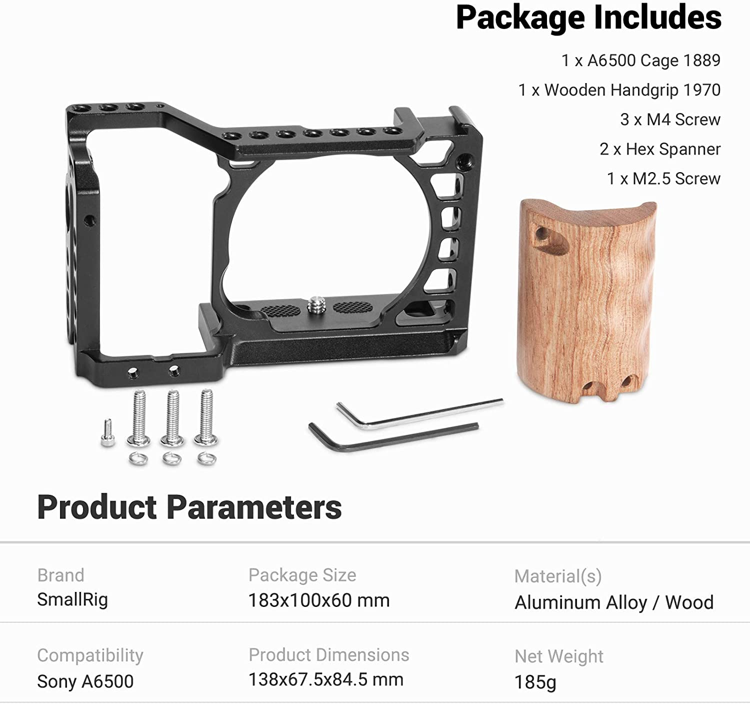 SMALLRIG a6500 Cage with Wooden Grip for Sony a6500-2097