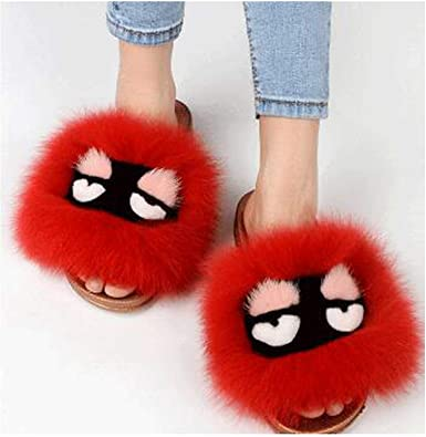 Fox Fur Slippers Flip Flops Furry