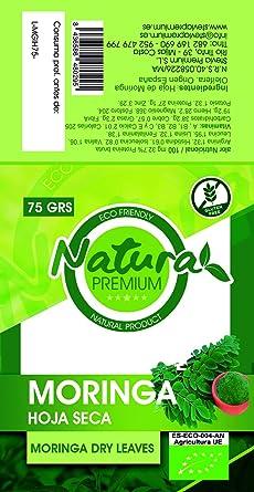 Natura Premium Moringa - Hoja Seca Kraft Bio 75 g: Amazon.es: Alimentación y bebidas