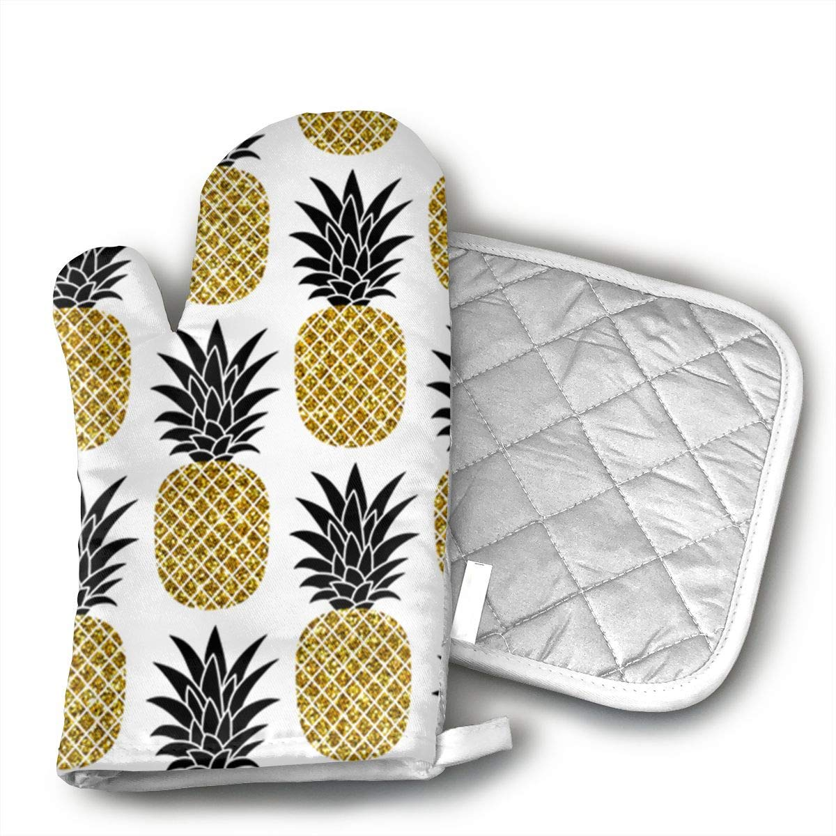 Mnsuh9 Glitter Pineapples Oven Mitt and Pot Holder or Oven Gloves-100% Cotton, High Heat Resistance,