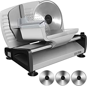 Meat Slicer 200W Electric Deli Food Slicer with Child Lock Protection, Adjustable Thickness Food Slicer, 3 Pieces 7.5'' Stainless Steel Serrated Blade, Wave-serrated Blade and Non-serrated Blade