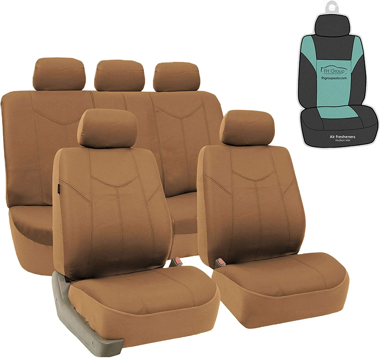 FH Group PU009114 Rome PU Leather Seat Covers Airbag Ready & Rear Split Tan with Gift - Fit Most